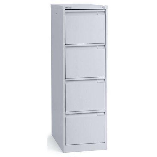 Szafka na kartotekę wiszącą, 1-torowa, 4 szuflady, DIN A4, biały aluminium. Na t