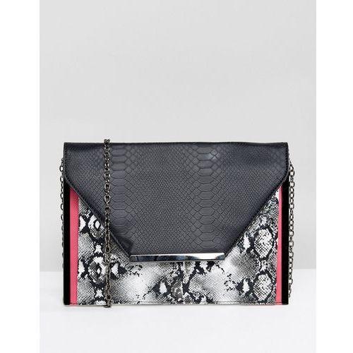 Yoki fashion Yoki snake print foldover envelope clutch - black