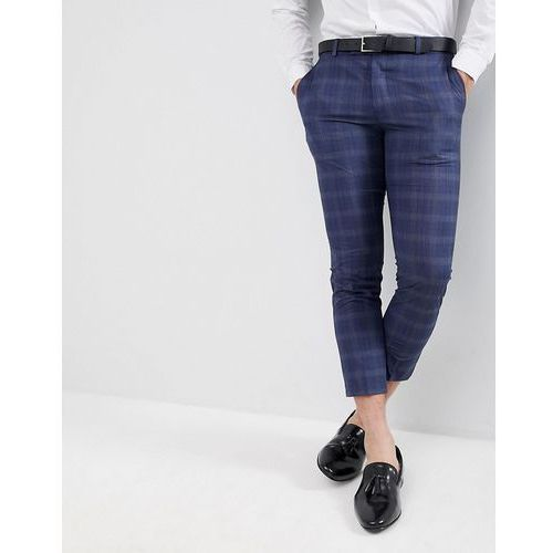 boohooMAN Skinny Fit Cropped Suit Trousers In Navy Check - Grey