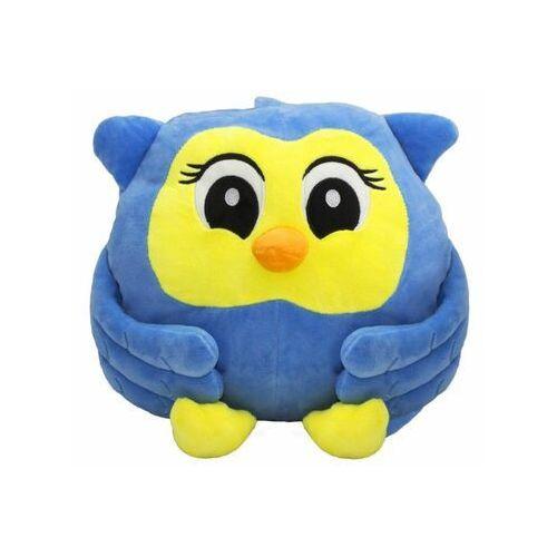 Poduszka i koc 100 x 100 cm 3 w 1 dla dzieci SOWA niebieska
