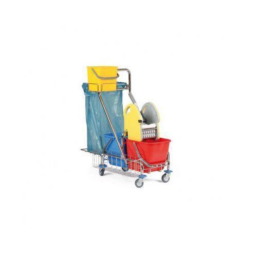 B2b partner Profesjonalny dwuwiadrowy wózek do sprzątania z uchwytem na worki