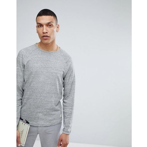 Selected Homme Long Sleeve T-Shirt With Raglan Sleeve and Curved Hem - Grey