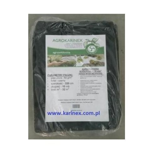 Agrowółknina ściółkujaca PP 50 g/m2 czarna 3,2 x 10 mb., PP 50/320/10/CZ paczka