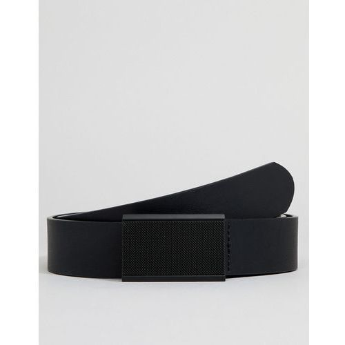 Asos design smart faux leather slim belt in black with black plate buckle - black