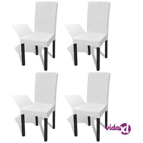 vidaXL Elastyczne pokrowce na krzesło w prostym stylu białe 4 szt.