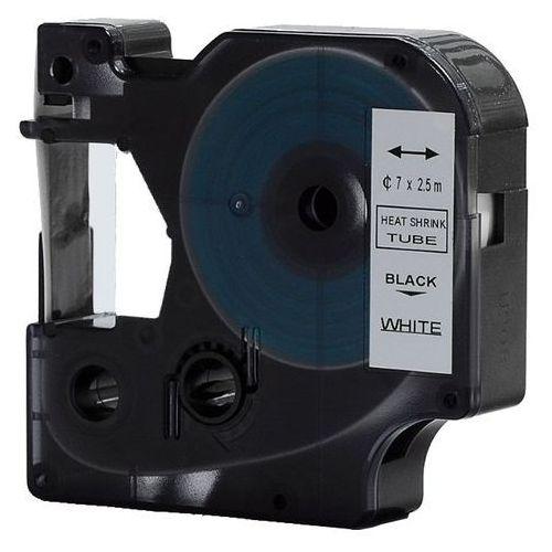 Rurka (koszulka) termokurczliwa zamiennik do Dymo, średnica 7mm, szer. wydruku 12mm, dł. 2.5m, biała, czarny nadruk RS7W