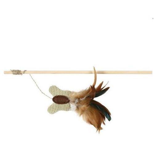 TRIXIE Wędka drewniana z motylem i piórkami + kocimiętka, 45cm