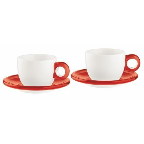 Zestaw 2 filiżanek do cappuccino Guzzini Gocce czerwony, 27740065