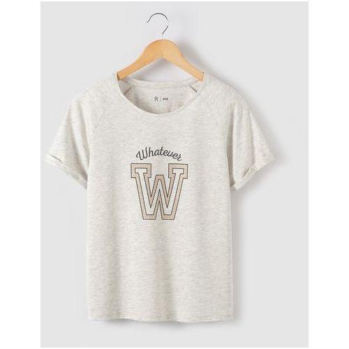 Koszulka z nadrukiem, ozdobiona cekinkami w kształcie litery