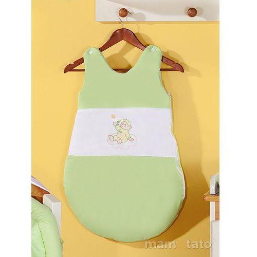 Mamo-tato śpiworek haftowany miś na chmurce w zieleni