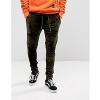 skinny joggers in khaki velour with zip ankle - green marki Sixth june