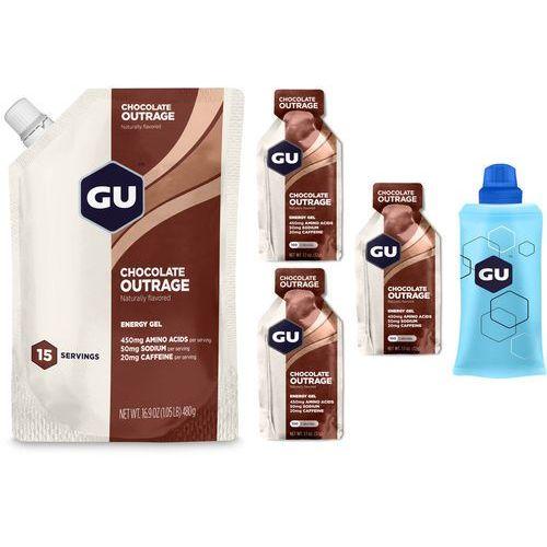 GU Energy Gel Żywność dla sportowców Chocolate Outrage Vorratsbeutel 480g + 3x32g Gels + Flask 2018 Zestawy i multipaki (3076949522221)
