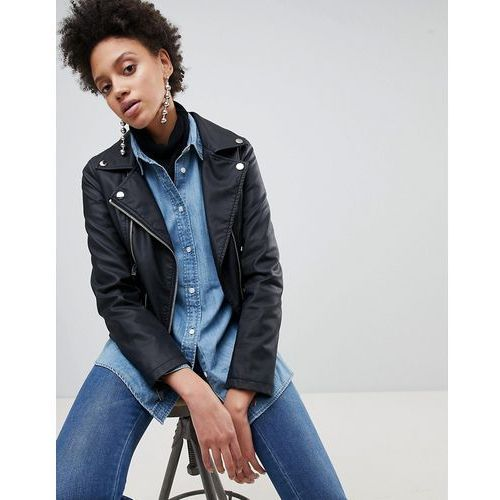 leather look biker jacket - black marki Stradivarius