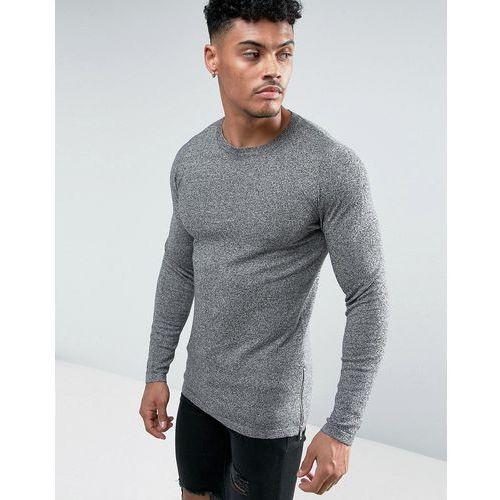 longline knitted jumper with side zips in salt & pepper - grey marki Asos