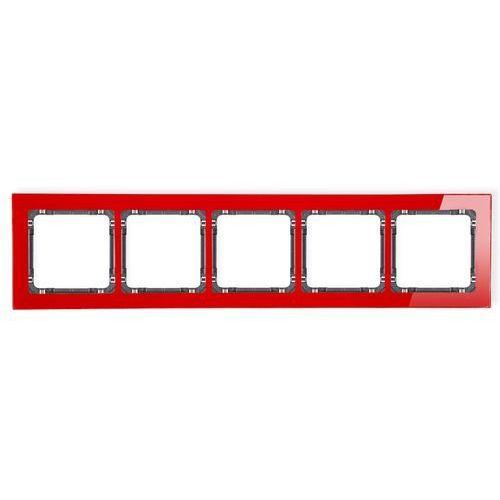 Ramka pięciokrotna Karlik Deco 17-11-DRS-5 efekt szkła spód grafitowy ramka czerwona, kolor czerwony