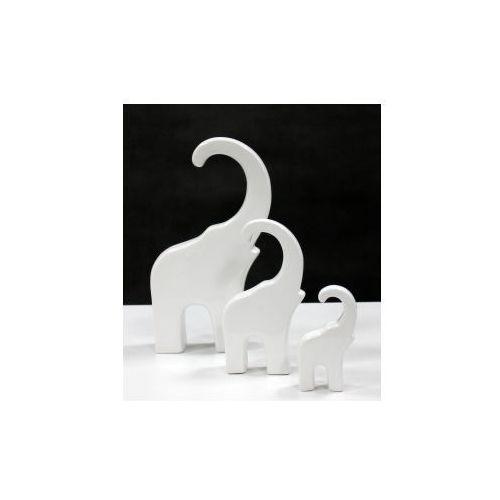 Słoń ceramiczny płaski biały mały - 7,5x2,5x13 cm marki Pozostali