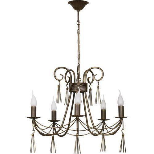 Nowodvorski Lampa wisząca twist 2766 świecznikowa zwis oprawa żyrandol 5x60w e14 brązowa/patyna
