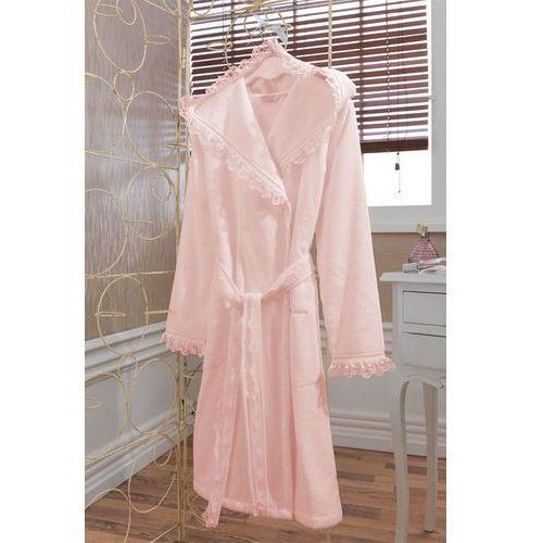 Luna damski pluszowy szlafrok z kapturem w pudełku s różowy marki Soft cotton