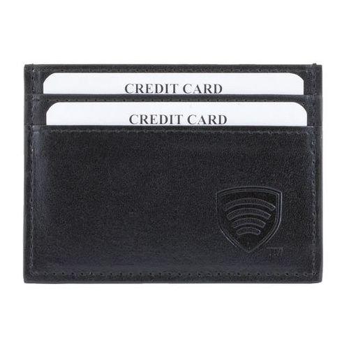 Skórzane etui ochronne na karty kredytowe oraz zbliżeniowe (Czarny) - Czarny połysk