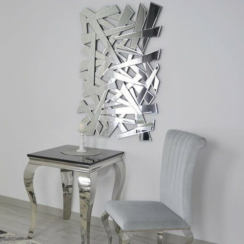 Srebrne lustro glamour prostokątne 80x120 cm m-0505 marki Bellacasa