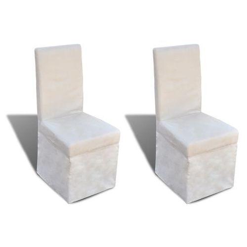 vidaXL Krzesła do jadalni tapicerowane tkaniną, kremowe, 2 szt., kolor beżowy