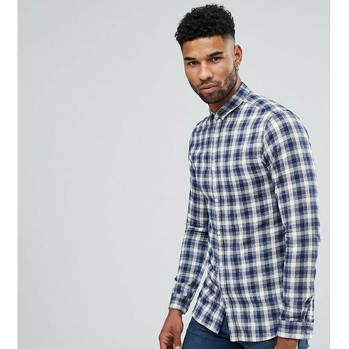 Selected Homme TALL Regular Fit Shirt In Brushed Gingham Flannel - Navy, w 3 rozmiarach