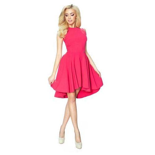 Koralowa Klasyczna Sukienka bez Rękawów z Szerokim Wydłużonym Dołem, B02-09kor