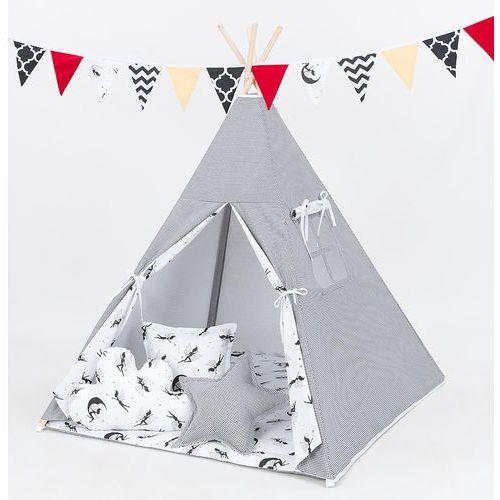 Mamo-tato namiot tipi z matą i poduszkami pepitka czarna / wróżki czarne