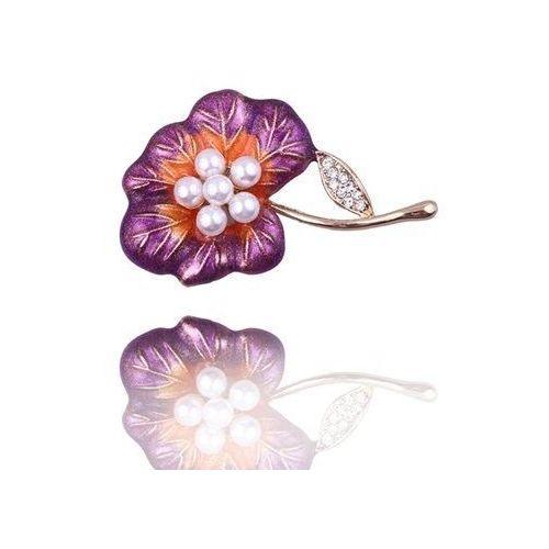 Polska Broszka damska fioletowy kwiat z perełkami i cyrkoniami - biały ||pomarańczowy ||fioletowy