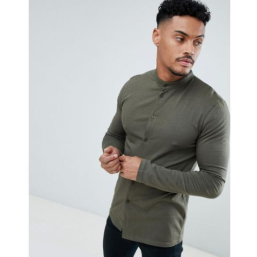 boohooMAN Muscle Fit Jersey Shirt With Grandad Collar In Khaki - Green, kolor zielony
