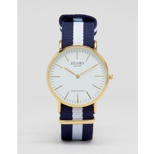 Reclaimed Vintage Inspired Navy Stripe Canvas Watch With White Dial - Navy