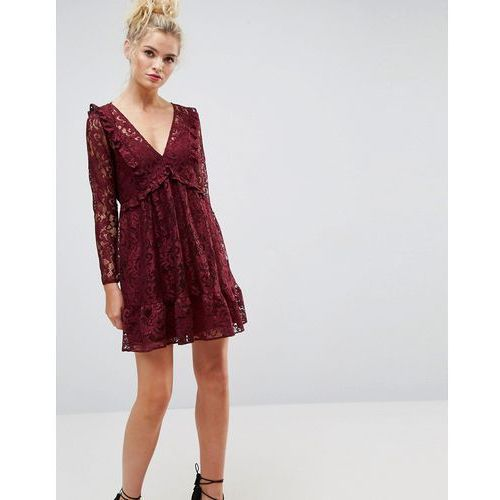 lace smock mini dress with ruffles - red, Asos