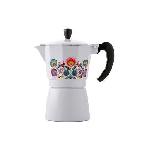 Florina Kawiarka aluminiowa ciśnieniowa folk biała - na 6 filiżanek espresso - rabat 10 zł na pierwsze zakupy!