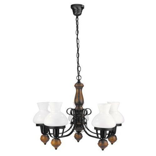 Lampa wisząca Rabalux Petronel 5x60W E27 czarny mat/orzech 7079, kolor Czarny