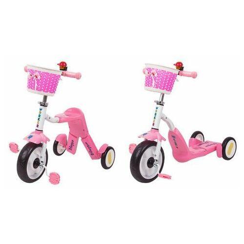 Hulajnoga trójkołowa i rowerek dla dzieci 2w1 Blagrie Worker - różowy (8596084068804)