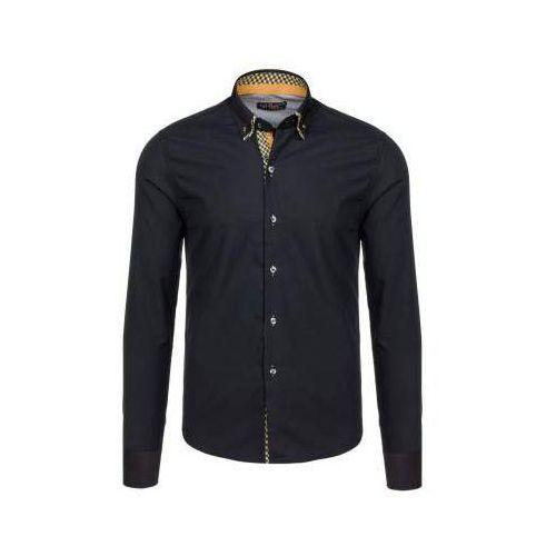 Bolf Czarno-brązowa koszula męska elegancka z długim rękawem 4708