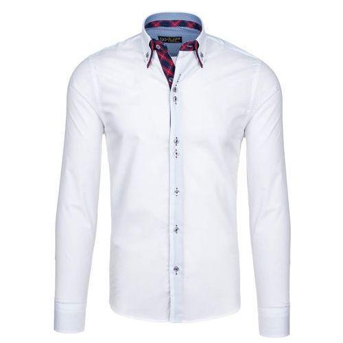 Biało-czerwona koszula męska elegancka z długim rękawem Bolf 5741 - BIAŁO-CZERWONY