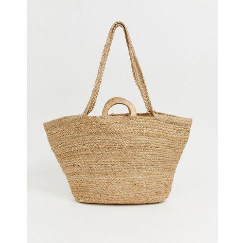8a11d32a06b05 Mango raffia shopper with wooden handle in natural - Brown
