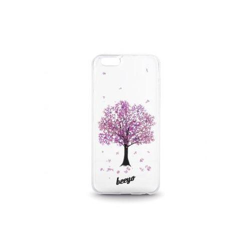 Silikonowa nakładka etui beeyo blossom do iphone 5/5s transparentna + fioletowa, marki Telforceone