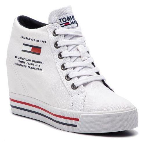 Sneakersy TOMMY JEANS - Wedge Casual Sneaker EN0EN00543 White 100