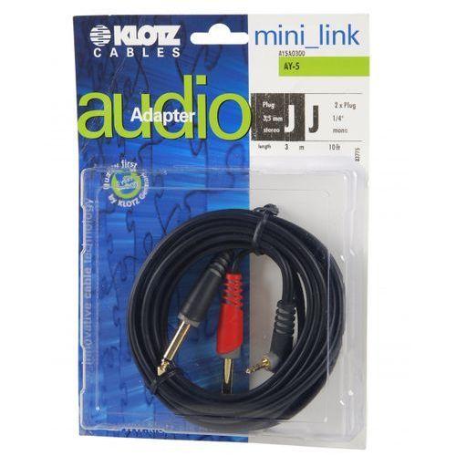 Klotz ay5 a0300 kabel mini trs kątowy / 2xts 3m