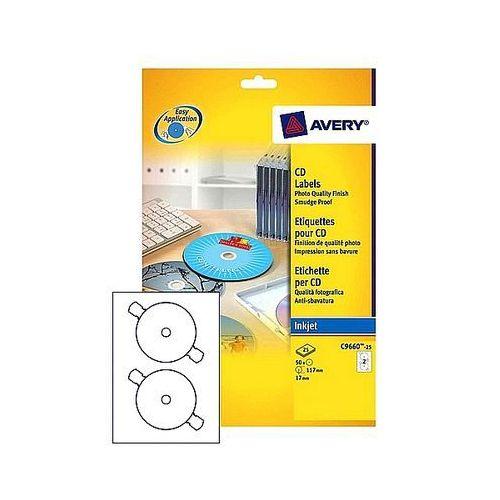 Etykiety samoprzylepne na cd/dvd białe błyszczące l9669-25 25ark. a4 marki Avery zweckform