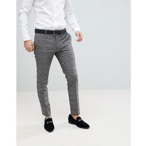 River Island Super Skinny Suit Trousers In Grey And Brown Check - Brown