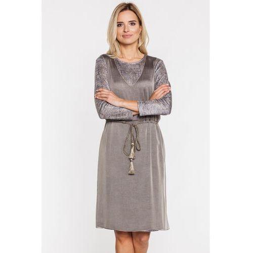 Far far fashion Łączona sukienka w odcieniach złota -