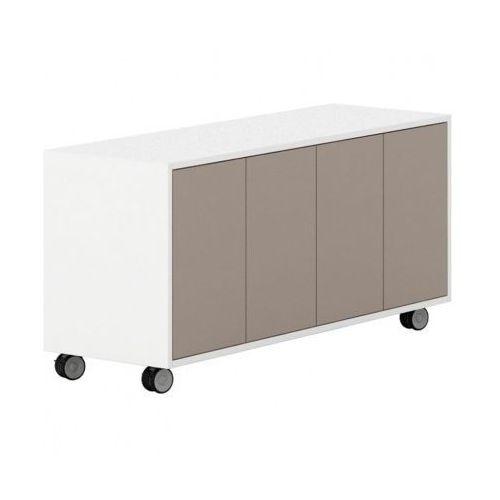 Szafka na kółkach z drzwiami white layers, jasnobrązowe drzwi marki Plan