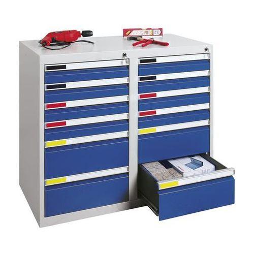 Szafka z szufladami, szer. 1000 mm, 12 szuflad, jasnoszary. system modułowy do ł marki Stumpf-metall