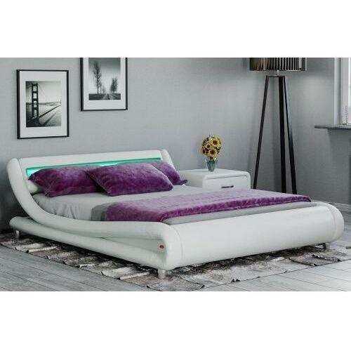 Łóżko z materacem tapicerowane 140x200 114 białe marki Meblemwm