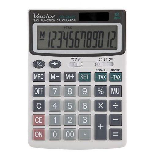 Kalkulator Vector CD 2442T: 12 pozycyjny, pamięć, zaokrąglanie wyników, obliczanie marży, funkcja obliczen podatkowych (TaX), klawisz cofania, klawisz zmiany znaku +/-, wymiary: 165 x 115 x 22 mm.