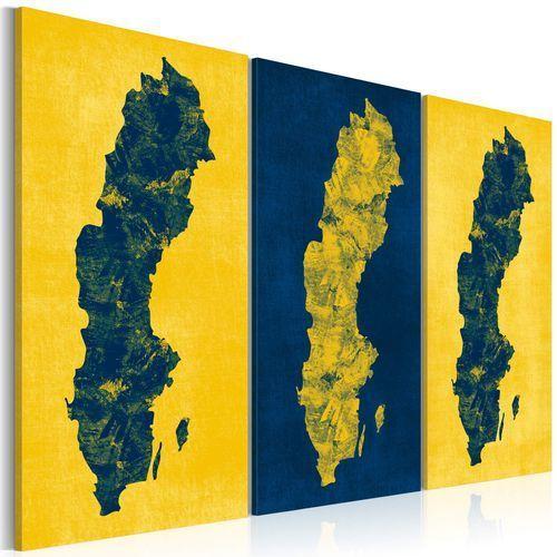 Artgeist Obraz - malowana mapa szwecji - tryptyk