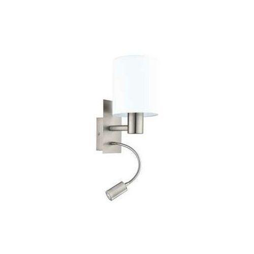 Eglo Kinkiet pasteri 96477 lampa ścienna 1x40w e27 + 1x3,5w led biały/nikiel